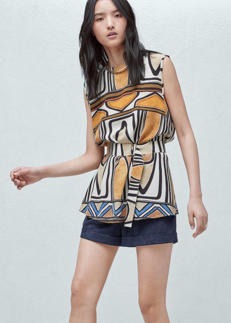 Bluse mit gürtel - Hemden für Damen | MANGO Österreich