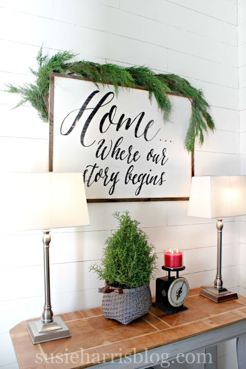 susie harris holiday home with custom sign home decor quoteshome - Home Decor Quotes
