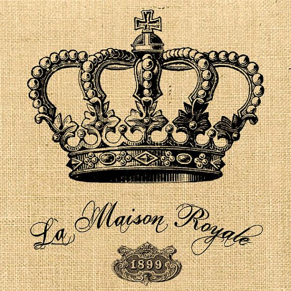 La Maison Royal vintage romantic large image paris france crown crown antoinette on iron transfer label napkins burlap pillow Sheet n.125