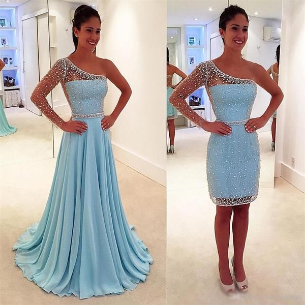 Blue One Off Shoulder Unique Style See-through Back  Prom Dress, Detachable Evening Party Dress, PD0309