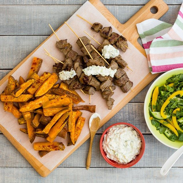 Beef Skewers with Kumara Chips and Cucumber Mint Cream