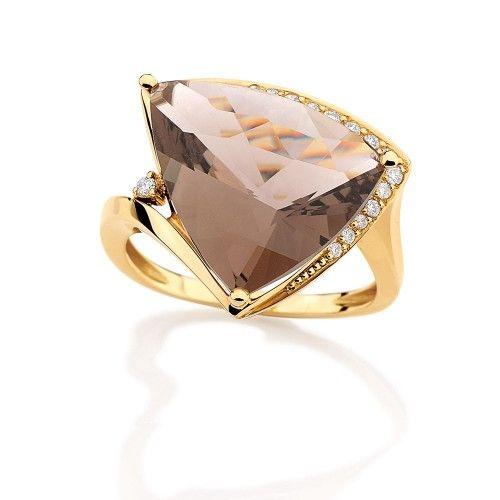 Anel de Ouro Amarelo com Diamantes e Quartzo Fumê
