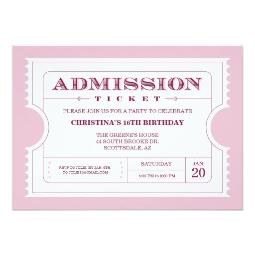 7 best Ticket Invitations images on Pinterest Ticket invitation - movie ticket invitations template