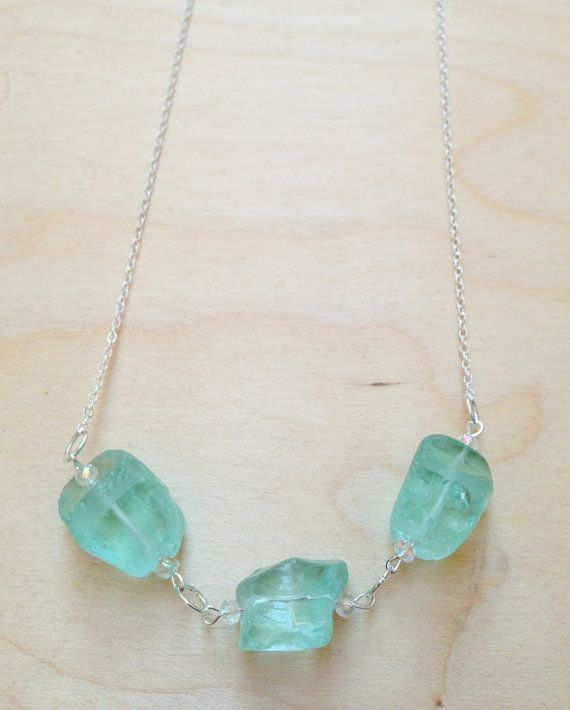 Silver necklace with blue quartz stones by FredericaDixon on Etsy, £18.99 PIN10%off