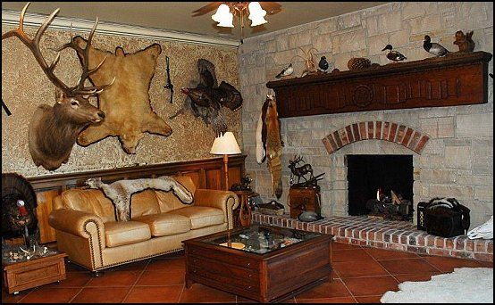 man cave decorating ideas - man cave decorating pictures - man cave decor. A hunter's dream man cave. #mancave #hunter