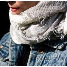 Beautiful soft scarf white white & pale grey pattern from MITZI B
