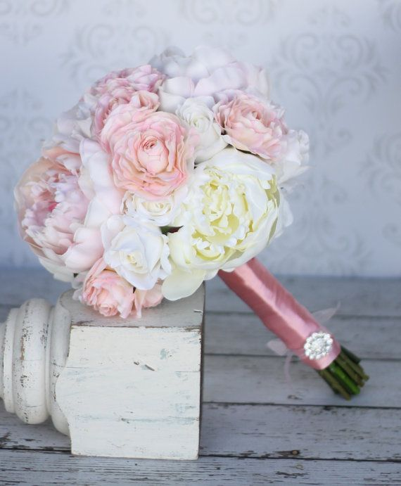 Silk Bride Bouquet Peony Peonies Shabby Chic Vintage Inspired Rustic Wedding (item F10384) on Etsy, $107.10 CAD