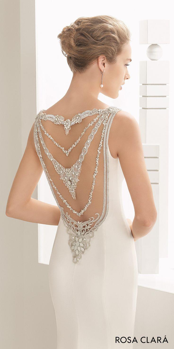 rosa clara 2017 bridal sleeveless bateau neckline simple clean elegant sheath wedding dress beaded back sweep train (naisha) zbv -- Rosa Clará 2017 Bridal Collection