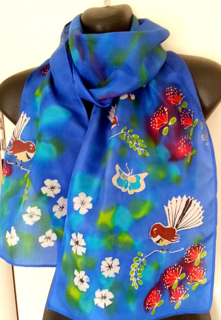 Fantail BIRD Silk Scarf, New Zealand Fantail Native , Handpainted, Manuka flowers, Pohutukawa, red, white, lime, blue, GIFT CARD Included by KiwiSilks on Etsy