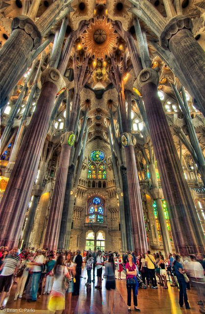 Architecture - Antoni Gaudi - Art Nouveau - Modernisme Catalan - La Sagrada Familia Interior in Barcelona, Spain