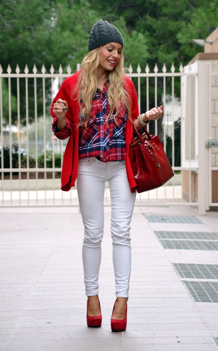 Scottish style red shirt with white jeans for fall/winter
