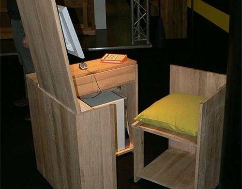 schreibtische büro schubladen lila farbe auflage kissen stuhl