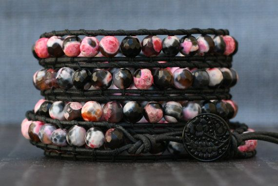 wrap bracelet faceted fire agate on black leather by CorvusDesign