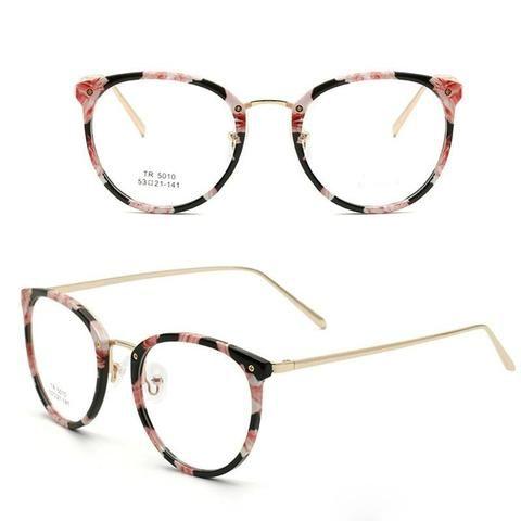 82c41ce8f6 TR90 Women s Floral Round vintage Glasses Women Optical Frame Eyeglasses  Clear Prescriptionmodlilj