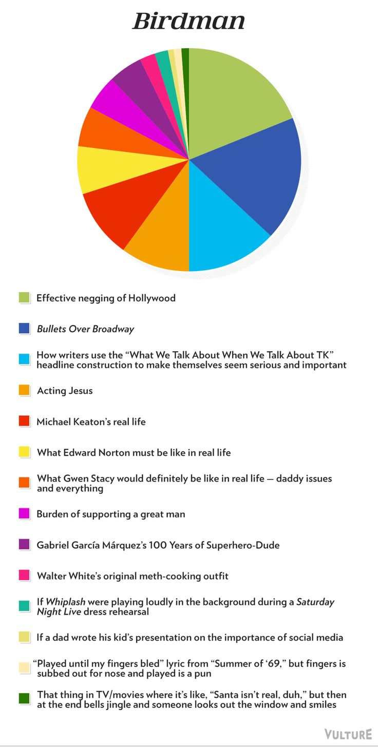The 2015 Oscar Best Picture Nominees As Pie Charts -- Birdman