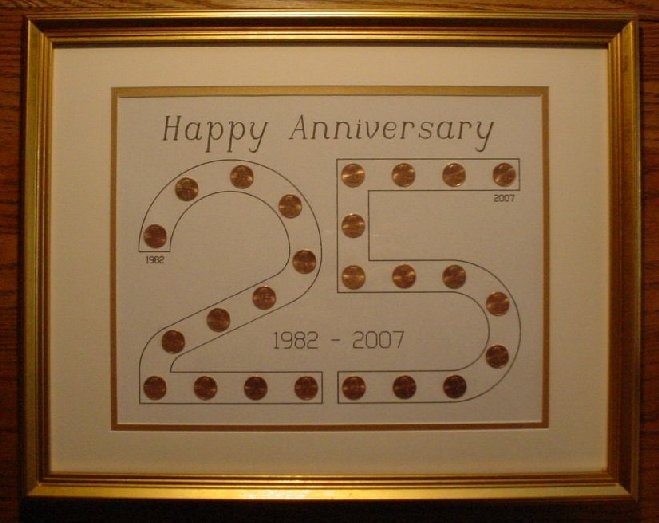 Such a great idea!  Start with the year someone was married, get pennies for each year through the 25th.  It looks even better with the 50th!  Great anniversary gift!!