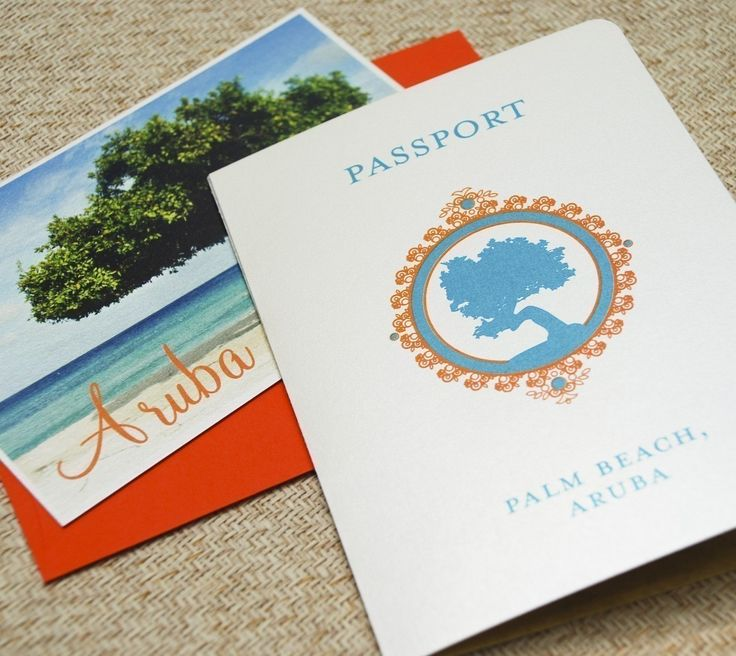 beach wedding invitation samples%0A Aruba Passport Wedding Invitation  Divi Tree