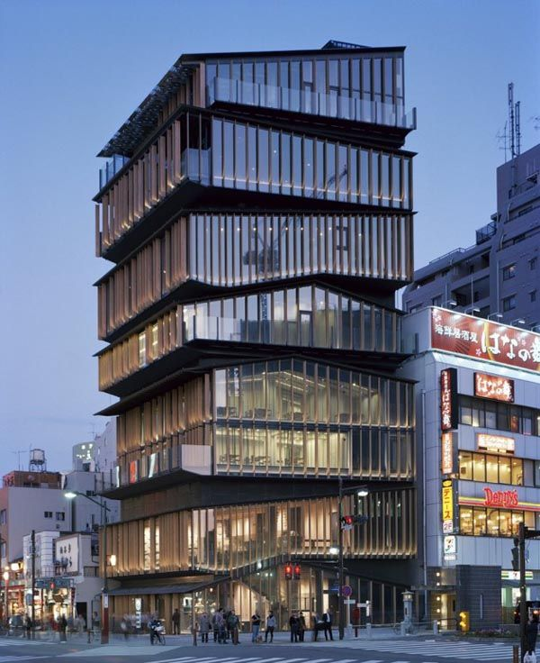 The Asakusa Culture Tourist Information Center in Tokyo is designed by Japanese architect Kengo Kuma