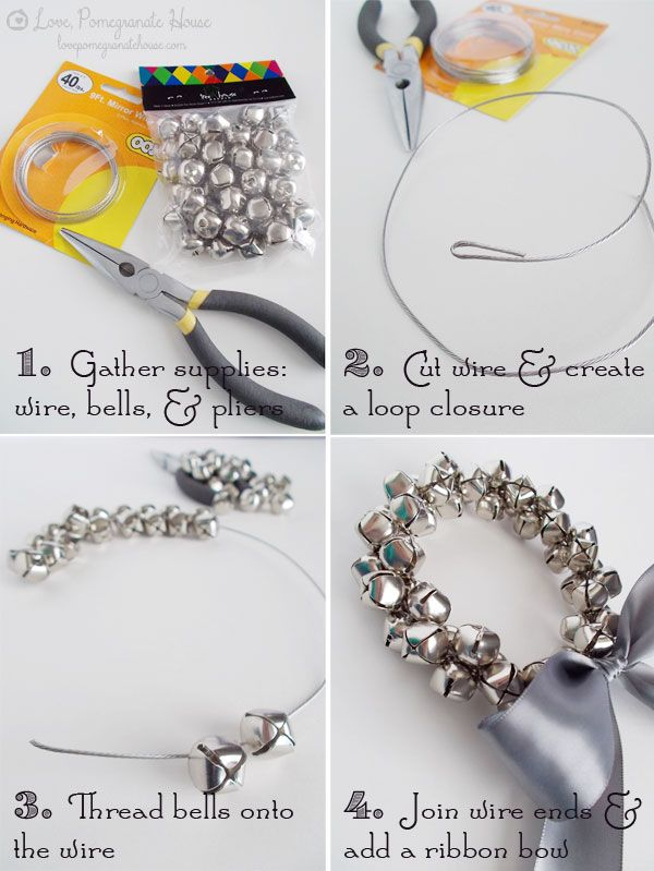 Jingle Bell Wreath Tutorial in Chic and Crafty, Christmas, Crafts Make with jewelry wire and tiny bells for an AMAZING Christmas bracelet?  YES.