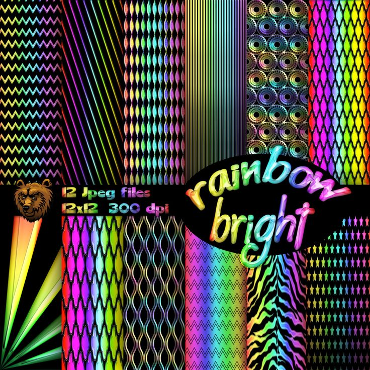 Rainbow digital paper, digital download, instant download, background, scrpabook, scrapbooking by BearsDenDigitalArts on Etsy