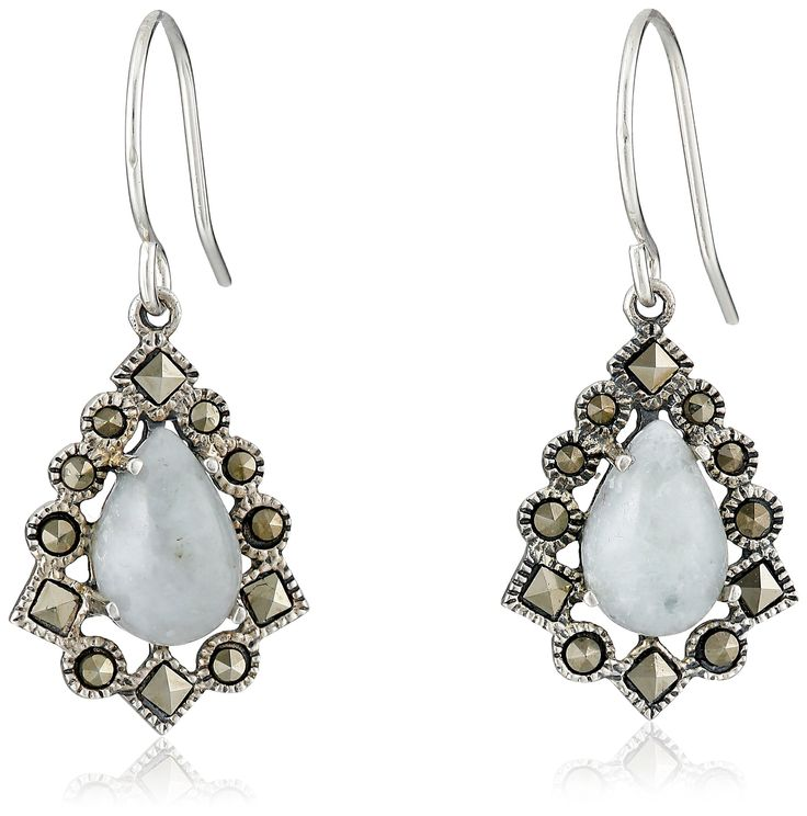 Sterling Silver Marcasite Green Jade Teardrop Wire Dangle Earrings: