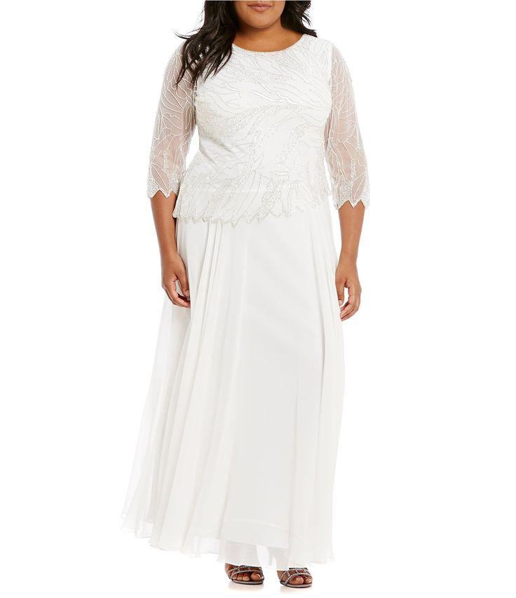 Jkara Plus BeadedBodice Chiffon Gown #Dillards