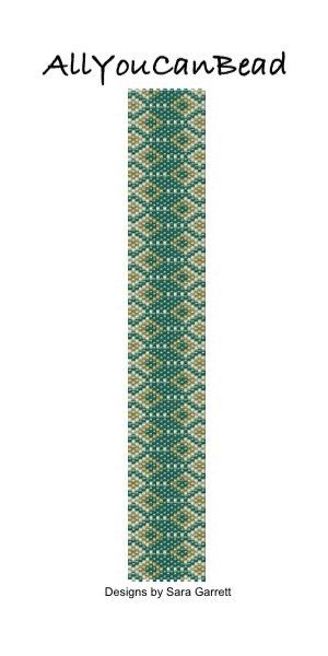 PATTERN ONLY. Create this beautiful peyote cuff bracelet. Delica Beads. Even count with 3 bead colors. 22 bead columns by 100 bead rows. 1 1/8 (28mm) wide by 7 (178mm) long. Pattern includes a pattern preview, full bead legend, colored bead graph, complete word graph and directions on how to attach sliding bar clasp. Note: I choose the color palette that looks best on the computer pattern. You may prefer to choose a different color palette.