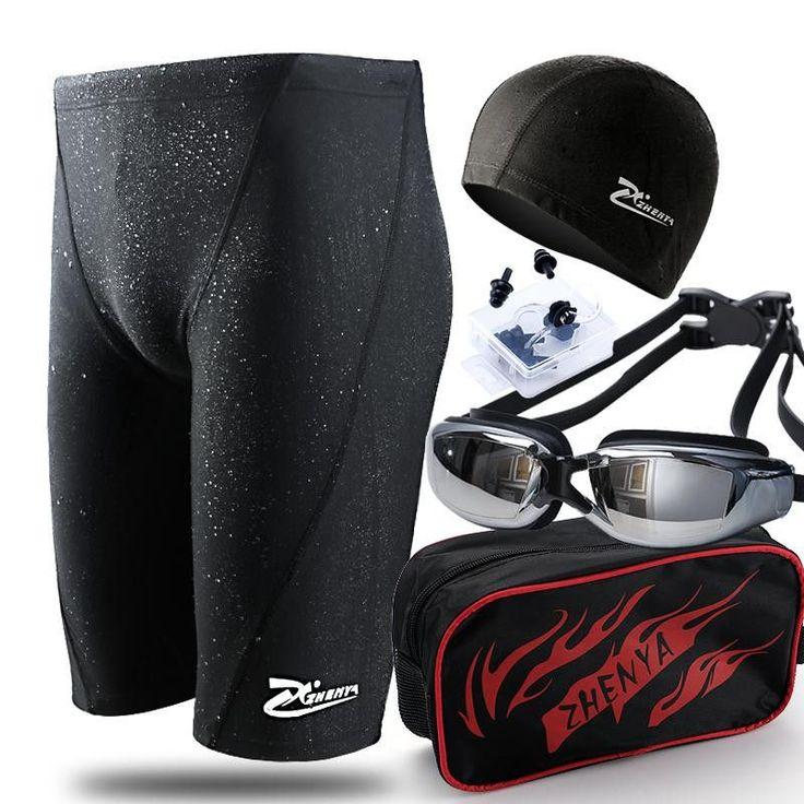 Swimwear Men Shark Skin Man Swimming Trunks Boxer Shorts Bathing Trunks Swim Sets With Cap Plating Goggles Plus Size Swimsuit