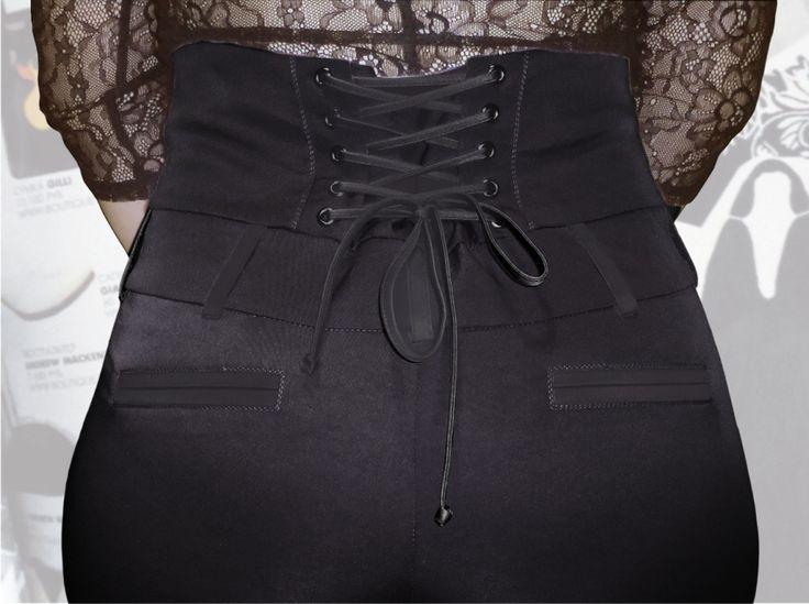 57$ Узкие брюки для полных девушек с завышенной талией и шнуровкой вид приближенный Артикул 640, р50-64 Брюки с завышенной талией большие размеры  Брюки деловые большие размеры  Брюки офисные большие размеры  Брюки черные большие размеры