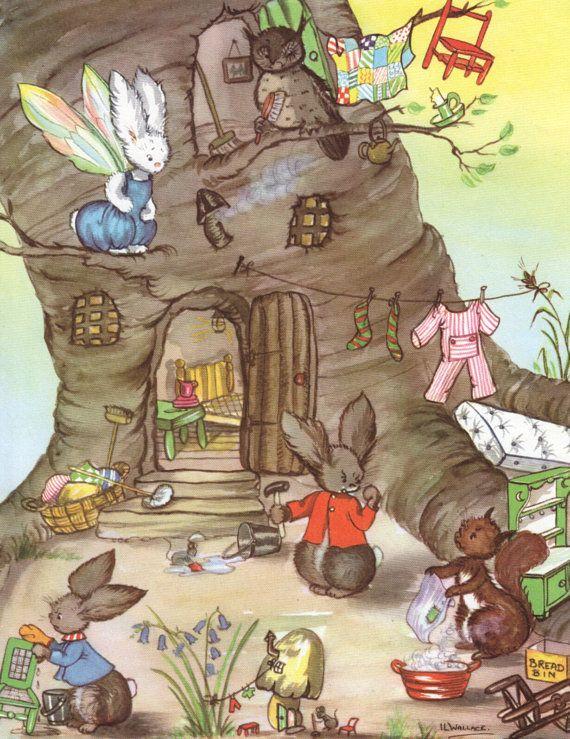 Vintage Pookie's tree house illustration par VintageAndNostalgia, $27.95