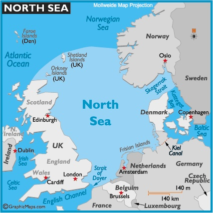 Map of the North Sea countries  Train ride on east coast of England and Scotland along the North Sea.
