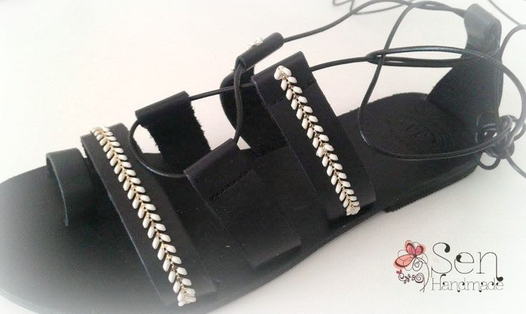 Gladiator leather sandals in black and white