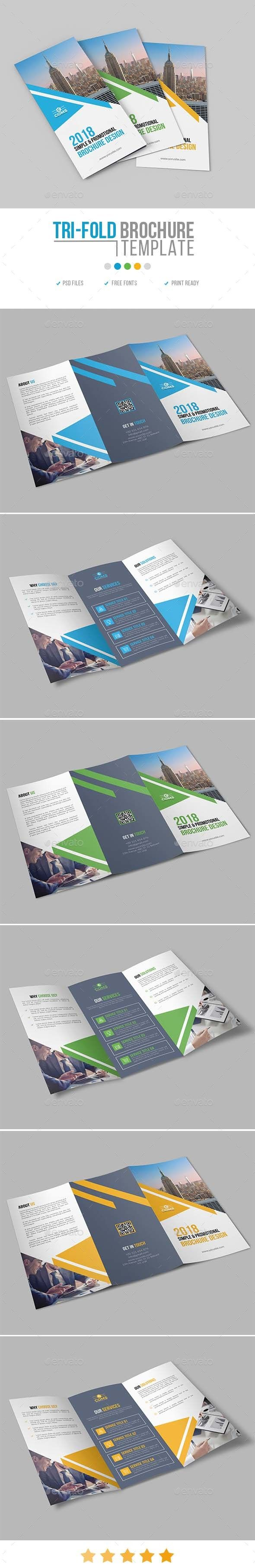 Tri-Fold Brochure Template PSD - A4 & US Letter Sizes