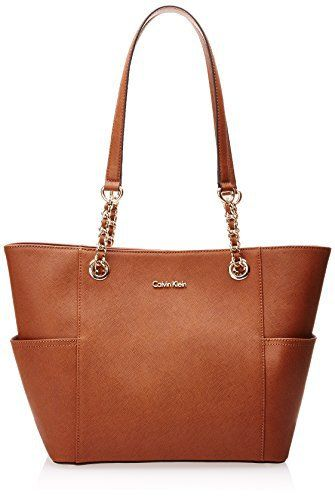Calvin Klein Saffiano Leather Chain Tote Shoulder Handbag, Luggage, One Size - http://leather-handbags-shop.com/calvin-klein-saffiano-leather-chain-tote-shoulder-handbag-luggage-one-size/