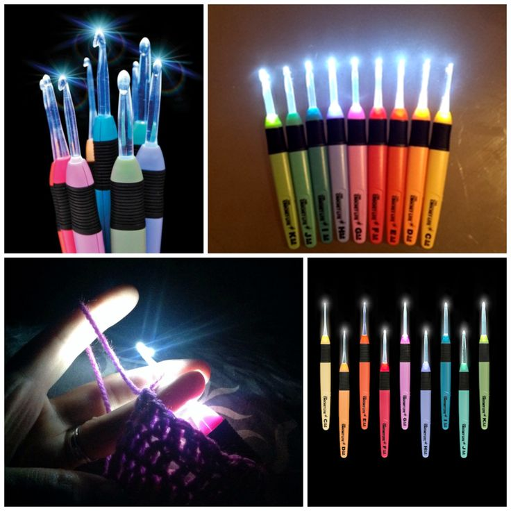 Crochet Light Up Hooks - 9 Sizes - great idea for crocheting with dark yarns!