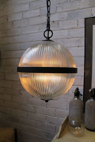 S.City Hall Pendant Light. Glass ball shade and chain cord pendant. E27 fitting - Fat Shack Vintage - Fat Shack Vintage