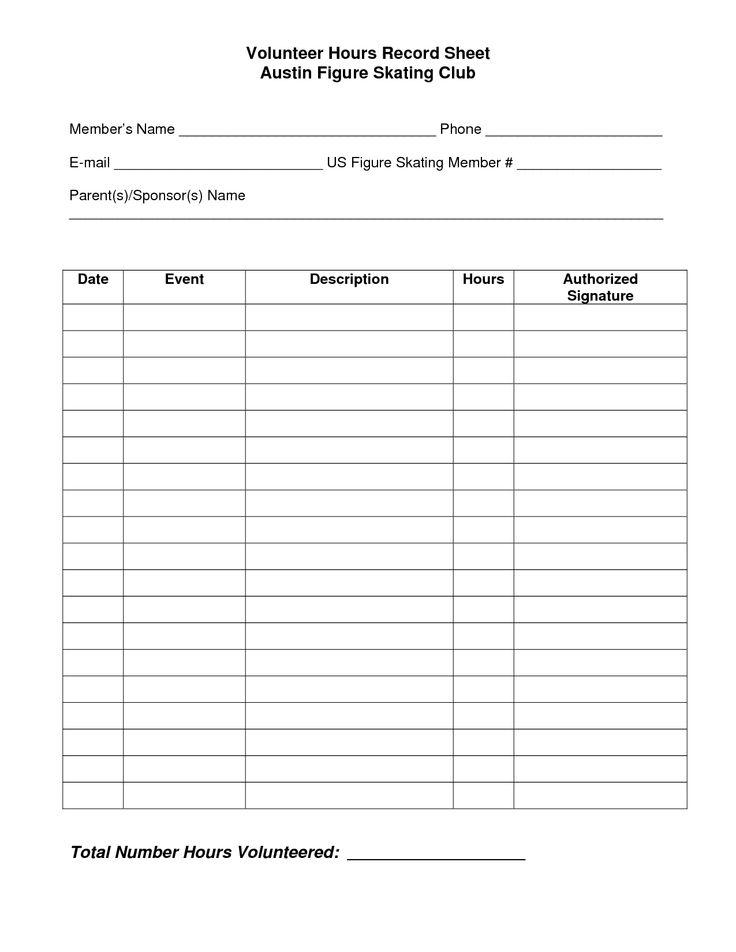 Volunteer Hours Log Sheet Template   Beta Club   Pinterest