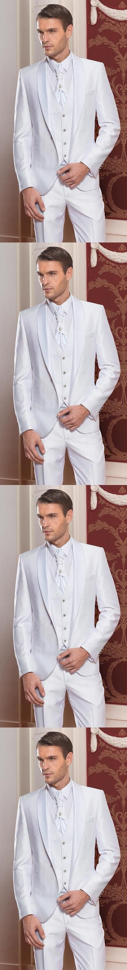 2017 New Arrival One Button Groom Tuxedos Shawl Satin Lapel Men's Suit White Groomsman Wedding/Prom Suits(Jacket+Pants+Vest)