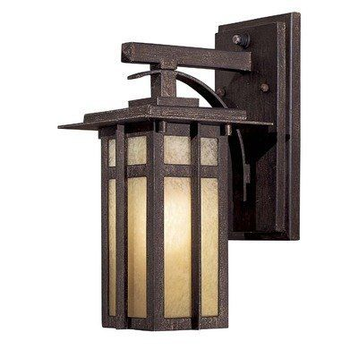 Delancy Medium Outdoor Wall Lantern in Iron Oxide - Energy Star by Great Outdoors by Minka. $137.90. 71191-A357-PL Features: -One Light Outdoor Wall Lantern.-Double French scavo glass.-Made from Aluminum.-Electronic Ballast.-California Title 24 Compliant.-Energy Star qualified. Includes: -Photo cell included.-Includes one spiral PL compact fluorescent bulb, 13 Watt max. Color/Finish: -Iron Oxide finish. Dimensions: -Overall dimensions: 12.25'' H x 6'' W x 8'' D...