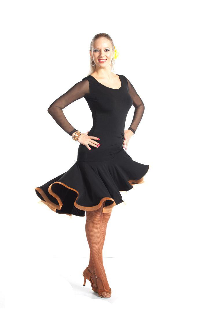 This gorgeous latin dress features long net sleeves, orange crinoline hemline, scoop neck and lovely solar skirt. Dance trunks are included.