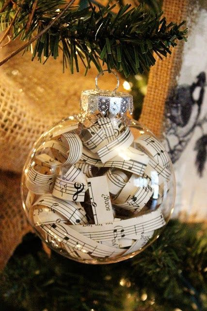 Sheet Music Christmas Ornament - This Christmas tree ornament idea is just too easy and looks so fancy! All you have to do it cut strips out of sheet music and stick them in clear glass ornaments. Add them to your Christmas tree for a fabulous personalized look!