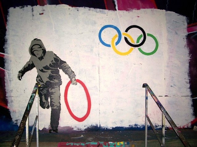 Banksy created this in 2012, and I find it hilariously ironic that it's the same ring that didn't light up in Sochi in 2014.