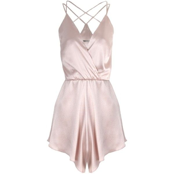 Again Albert Misty Rose Romper (905 PLN) ❤ liked on Polyvore featuring jumpsuits, rompers, dresses, playsuits, lingerie, silk jumpsuit, evening wear jumpsuits, surplice romper, jump suit and wrap jumpsuit