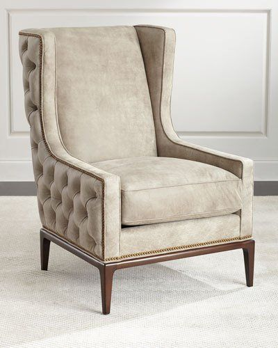 idris tuftedback leather wing chair