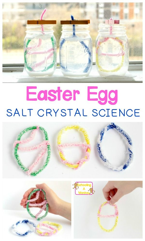 Celebrate the sparkly side of Easter with the salt crystal Easter egg salt crystal science experiment! This Easter STEM activity shows kids how many sides does a perfect salt crystal have. How to make crystal eggs is the perfect Easter science experiment. #easter #stemactivities #scienceexperiments #easterstemactivities