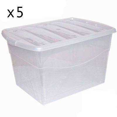 5 X 100l #extra #large Strong Plastic Storage #clear Box Stackable Container ,