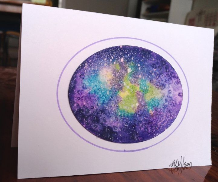 Galaxy oval, Watercolour painting    This greeting card is a hand painted and signed original painting not a print. For a truly unique card for someone special. They come with an envelope and wrapped in a cellophane bag. Blank in side so perfect for any occasion.            | Shop this product here: http://spreesy.com/Goldstarwork/18 | Shop all of our products at http://spreesy.com/Goldstarwork    | Pinterest selling powered by Spreesy.com