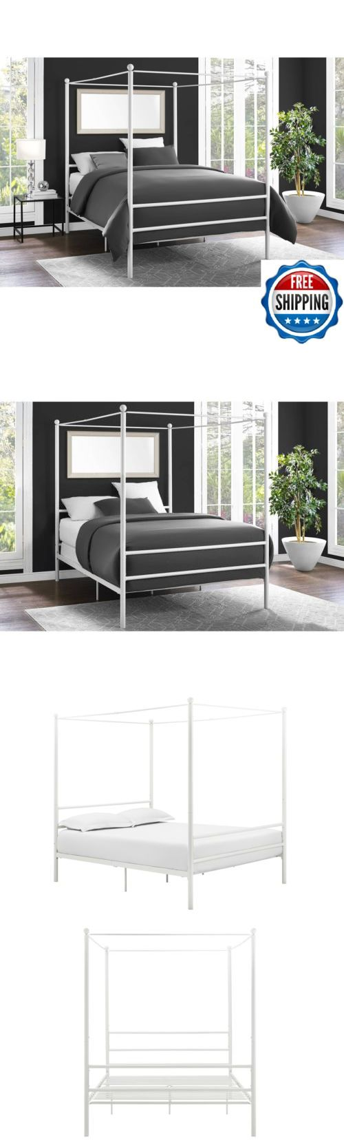 Napa queen size black canopy bed free shipping today overstock com - Beds And Bed Frames 175758 Metal Canopy Bed Frame Platform Queen Size Headboard Modern Bedroom