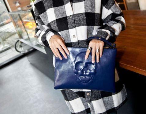Sugar Skull Handbag - Genuine leather - Blue