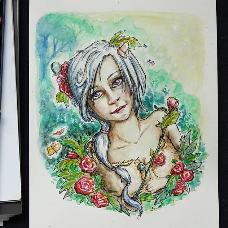 Ok, enough work on this creepy woman in the garden. 😅 Time to move on and start on a new painting.    #watercolorpainting #woman #albino #garden #roses #butterflies #painting #watercolor #vesivärimaalaus #vattenfärg #greens #done #next